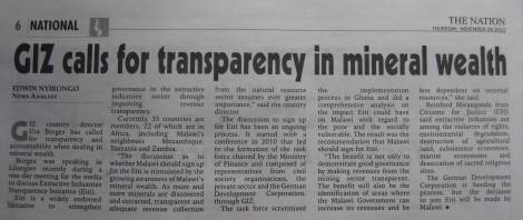 Article in the Nation 29 November 2012, Edwin Nyirongo