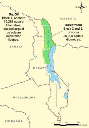 Surestream Petroleum and SacOil awarded exclusive prospecting licences by the Malawian government for 3 zones in Lake Malawi. This decision has seen Tanzania renew claims that 50% of the lake is within its territories. (Credit: Malawi2014)