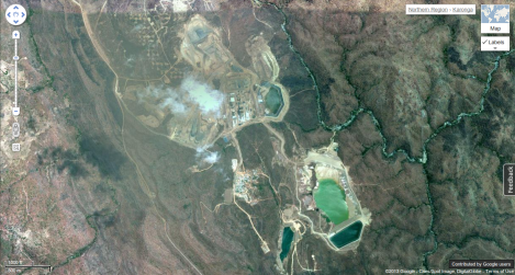 Malawi's largest mine. Kayelekera Uranium Mine operate by Paladin Africa Limited in Karonga,  Northern Malawi  -9.996408, 33.700476. (Courtesy of Google Earth)