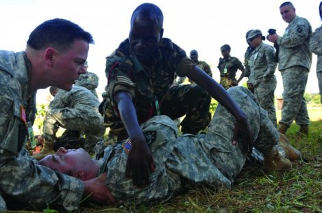 Previous collaboration between the US Army and Malawi Defense Force (2011): Soldiers from the 399th Combat Support Hospital instructed Malawi Defense Force medical staff and Soldiers from the 404th Maneuver Enhancement Brigade, at the Kamuzu Barracks, on a variety of procedures to help them better respond to combat-related injuries. (Courtesy of US Army)