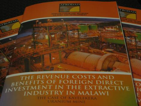 Report launched this week: The Revenue Costs and Benefits of FDI in the Extractive Industry in Malawi: The Case of Kayelekera Uranium Mine (AFRODAD 2013)