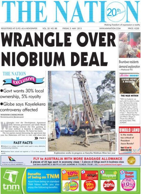 Wrangle Over Niobium Deal, The Nation, 3 May 2013