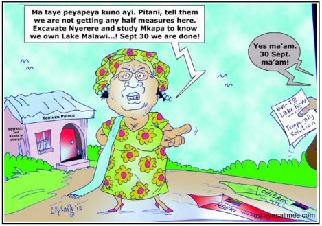 One cartoonist's impression of the meeting between the SADC mediation team Joyce Banda, where Banda was clear about Malawi's position (Courtesy of Nyasa Times)
