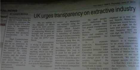 UK urges transparency on extractive industry (The Nation, 27 June 2013)