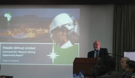 Greg Walker, General Manager of International Affairs, Paladin Africa responds to report (Neville Huxham of Globe Metals & Mining and Rafiq Hajat, Executive Director of Institute for Policy Interaction look on)