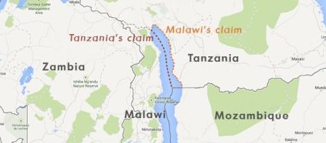 Claims made by Tanzania and Malawi on Lake Malawi (Courtesy of SAIIA)