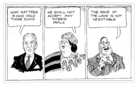 Cartoon illustrating opinions on Lake Malawi dispute: former president Kamuzu Banda (1964-1994), current president Joyce Banda (2011-), presidential aspirant and brother of former later president Peter Mutharika (Courtesy of The Daily Times)