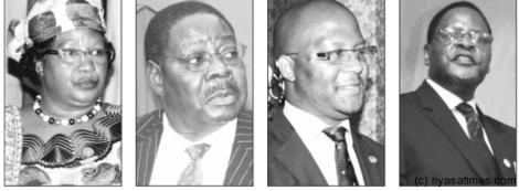 Presidential candidates for Malawi's 2014 tripartite elections. L-R: Joyce Banda (current president, People's Party), Peter Mutharika (Democratic Progressive Party), Atupele Muluzi (United Democratic Front), Lazarus Chakwera (Malawi Congress Party) (Courtesy of Nyasa Times)