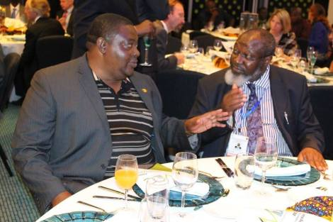 Malawi's Principal Secretary of Mining in discussion at the launch of the African Minerals Development Centre, Maputo (Courtesy of UNECA Facebook Page)