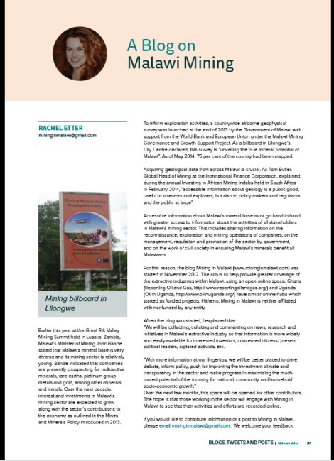2014-07 Screenshot of article on Mining in Malawi featured in CEPA's Nature's Voice