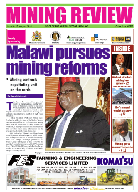 Front page of the Mining Review (Issue No. 15, August 2014, Marcel Chimwala)