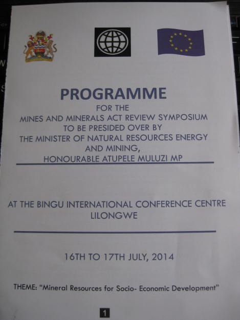 Mines and Minerals Act Review Symposium Lilongwe 16-17 July Programme