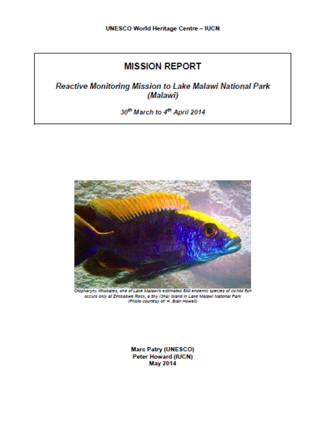 Reactive Monitoring Mission to Lake Malawi National Park (Malawi) - 30 March to 4 April 2014  (Mission Report available here)