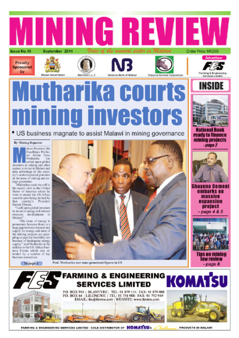 Front page of the Mining Review (Issue No. 16, September 2014, Marcel Chimwala)
