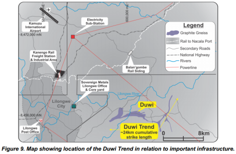 Location of the Duwi Trend (Image taken from Sovereign Metals ASX Release 17 October 2014)