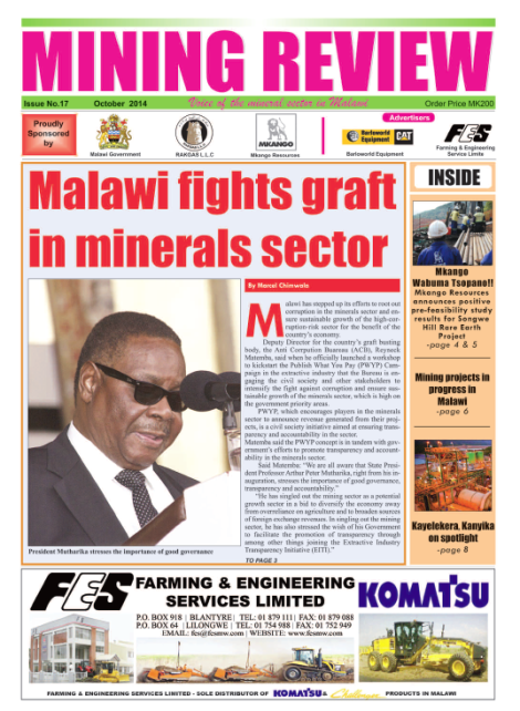 Front page of the Mining Review (Issue No. 17, October 2014, Marcel Chimwala)