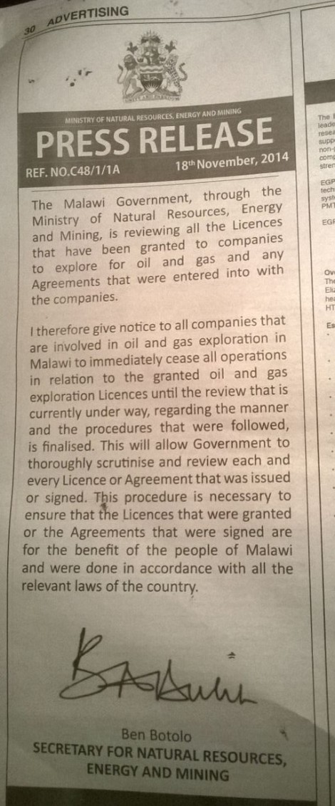 2014-11-20 Press Release on Review of all O&G Licences