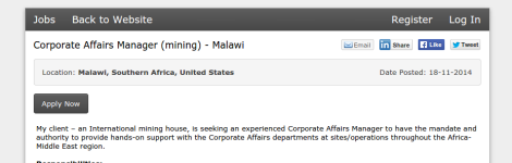 Corporate Affairs Manager (Mining) Malawi Job Ad