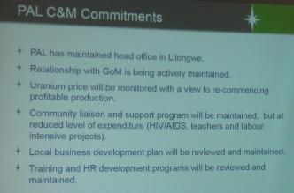 Paladin's Care and Maintenance Commitments at Kayelekera Uranium Project