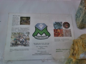 Mzimba Gemstone Mining Cooperative Society Ltd. - Contact the Cooperate for tours of mines in northern Malawi