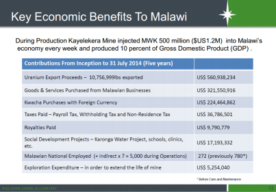 Key economic benefits to Malawi of Kayelekera (Image taken from Paladin Africa presentation at Extraordinary DEC Meeting, Karonga, 28 October 2014)