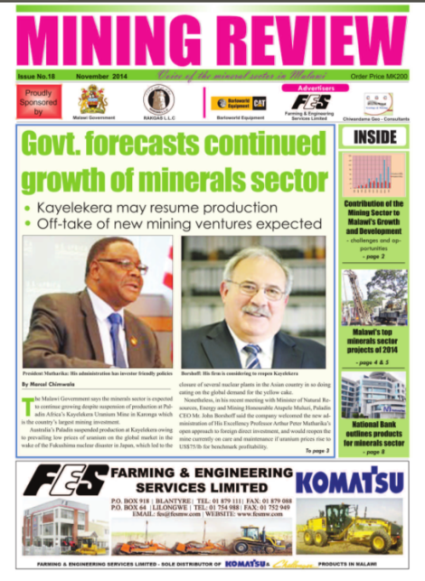 Front page of the Mining Review (Issue No. 18, November 2014, Marcel Chimwala)