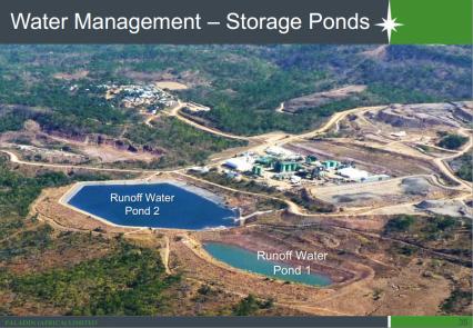 Water Management - Storage Ponds at Kayelekera Uranium Mine (Image taken from Paladin Africa presentation at Extraordinary DEC Meeting, Karonga, 28 October 2014)