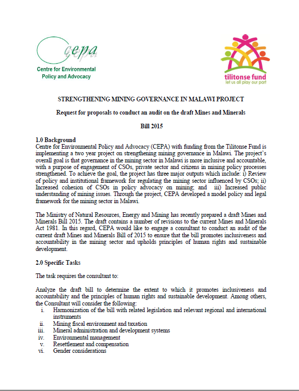 consultancy opportunity audit of malawi s draft mines and minerals