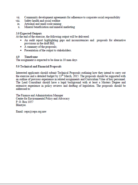 2015 CEPA Call fo Consultant to Audit Mines and Minerals Bill 2