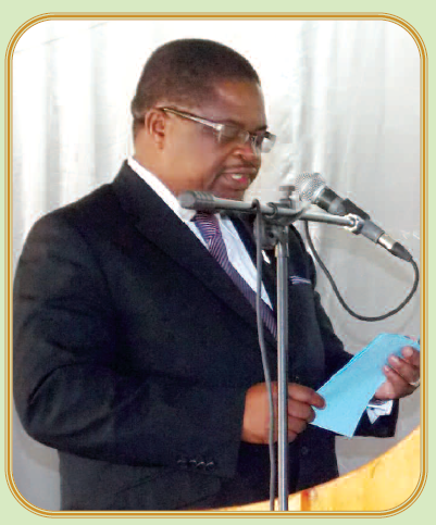 Bright Msaka, Minister of Natural Resources, Energy and Mining, giving opening address at draft Mines and Minerals Bill Consultation Workshop, April 2015 (Courtesy of the Mining Review)