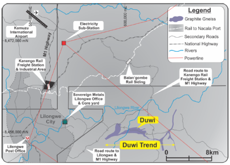 Sovereign Metals Location and Infrastructure Around Duwi Flake Graphite Project (see Announcement from 1 September 2015)