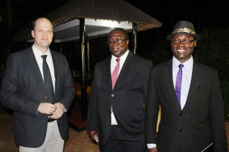 Lutz Neumann (Consultant on MWEITI Scoping Study) and George Harawa and Leonard Mushani (MWEITI Secretariat, Ministry of Finance, Economic Planning and Development)