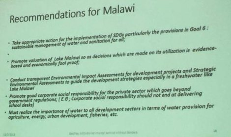 Godfrey Mfiti's Recommendations on Lake Malawi National Park and Oil Exploration