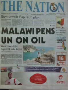 2015-12-09 Nation Cover Malawi Pens UN Over Oil