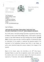 2015-12 Malawi Response to UNESCO on Lake Malawi Natinal Park 1