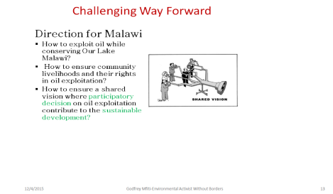 2015 Godfrey Mfiti Is Oil Drilling in Lake Malawi Sustainable Dev Slide 13