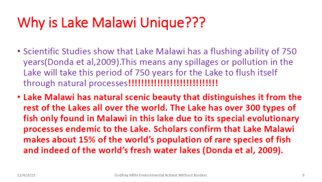 2015 Godfrey Mfiti Is Oil Drilling in Lake Malawi Sustainable Dev Slide 9