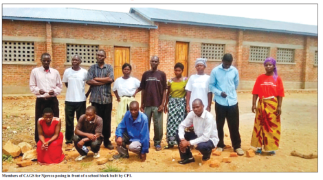 2016-02 Mining Review Members of CAGS for Njereza in front of CPL built school block