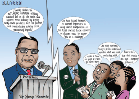 2016-05 Mining & Trade Review Malawi Cartoon on Buy Malawi Campaign and Cement