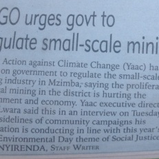Elias Nyirenda, NGO urges Govt to regulate illegal mining 2