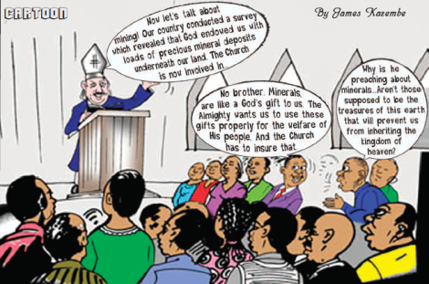 2017-03 Malawi Mining & Trade Review Cartoon Mining Faith Church