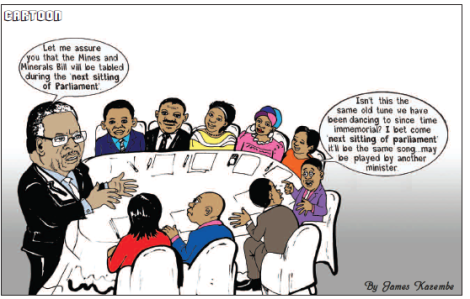 201708 Malawi Mining & Trade Review Cartoon Mines and Minerals Bill Delay James Kazembe.png