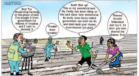 201810 Mining & Trade Review Malawi Cartoon Land Resettlement Compensation James Kazembe