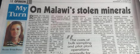 20181017 The Nation My Turn On Malawi's Stolen Minerals small