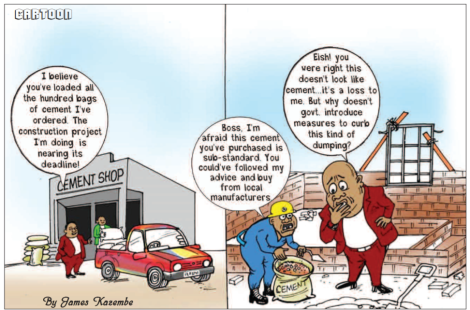 Challenges of imported cement in Malawi cartoon